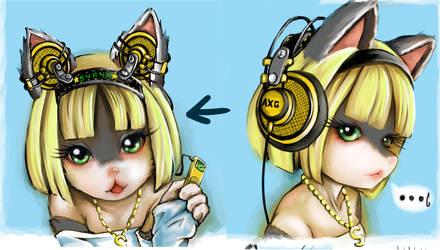 Dog And Headphone WhiteLittleStar 2 by skyshek