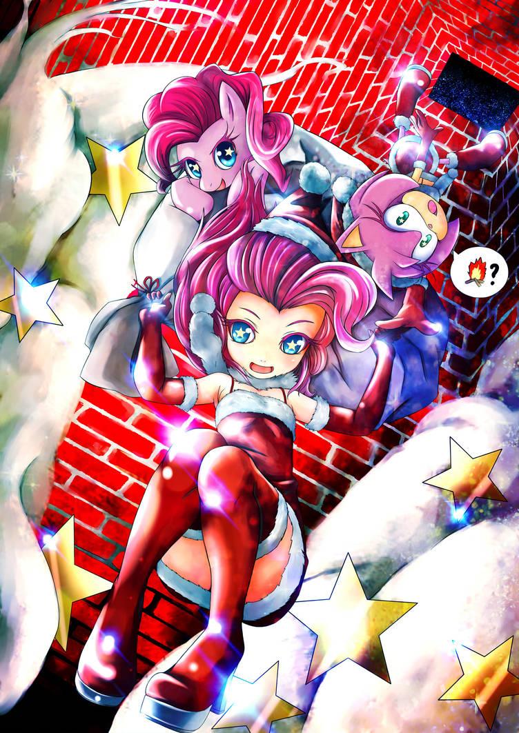 mlp Pinkie Pie and rose merry xmas by skyshek
