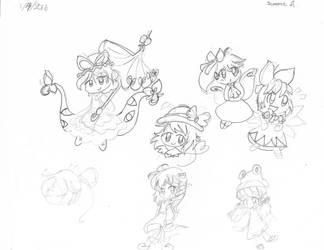 Touhou Doodles by Kizune-Chao