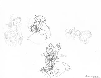 Touhou Doodles 2 by Kizune-Chao
