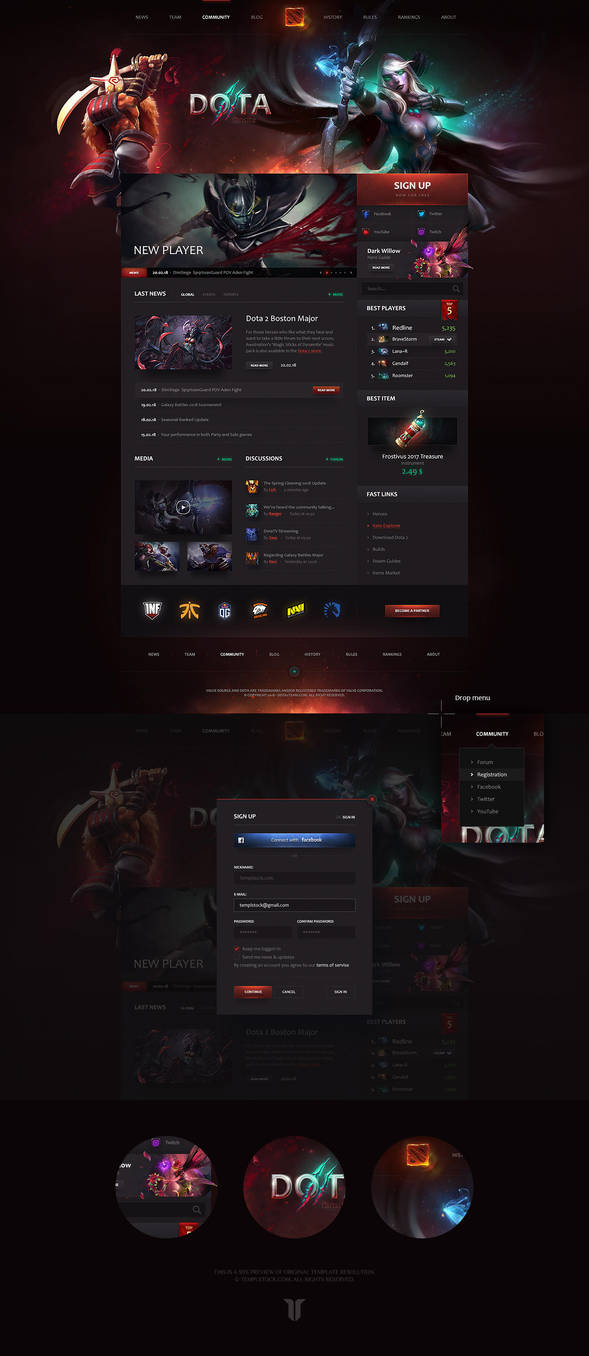 Dota 2 Team Portal Website Template by DKartsStudio