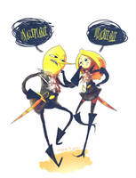 Earl of Lemongrab and gender-bent Lemongrab by CottonValent