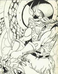 Thor Fighting Midgard Serpent by ArtDewd