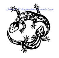 Yin and Yang Gecko Tattoo Commission by DansuDragon