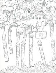 line etching - The City Isaura by Skitterklat