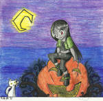 a little vampire and a kitty by Akkai