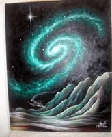Planet in Emerald galaxy. Space travel sci-fi art by SOFIAMETALQUEEN