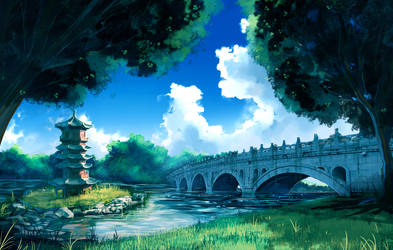 Riverbank Bridge by anonamos701