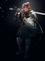 RWBY x DARK SOULS: Elite Knight Pyrrha by anonamos701
