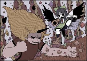 Yuugi and Utsuho by Genkidown