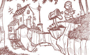 Checking the Mail- Sketchwork by travisJhanson