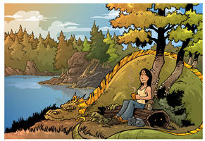 Coffee with a dragon by travisJhanson