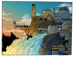 the Waterfall castle by travisJhanson