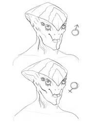 Prothean gender Sketch by alexee29