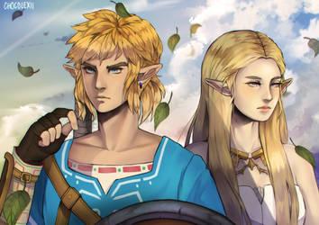 BotW Link And Zelda by chocolexii