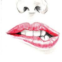 biting lips by snobunnyluvzyou