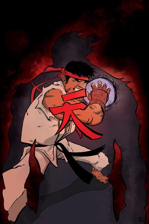 Ryu v Akuma by ellisthree