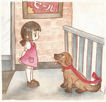 Ayumi meets a dog by scilk