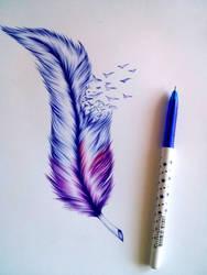 Feather wip by EmilyArtPoland