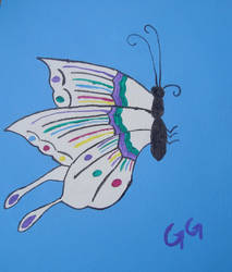 Butterfly on blue by GalaxyGoddess