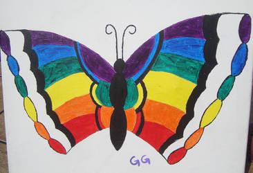 Rainbow butterfly by GalaxyGoddess