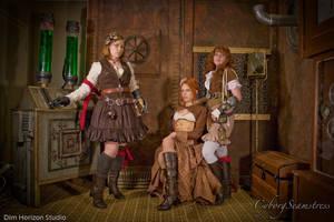 Steampunk Ladies by cyborgseamstress