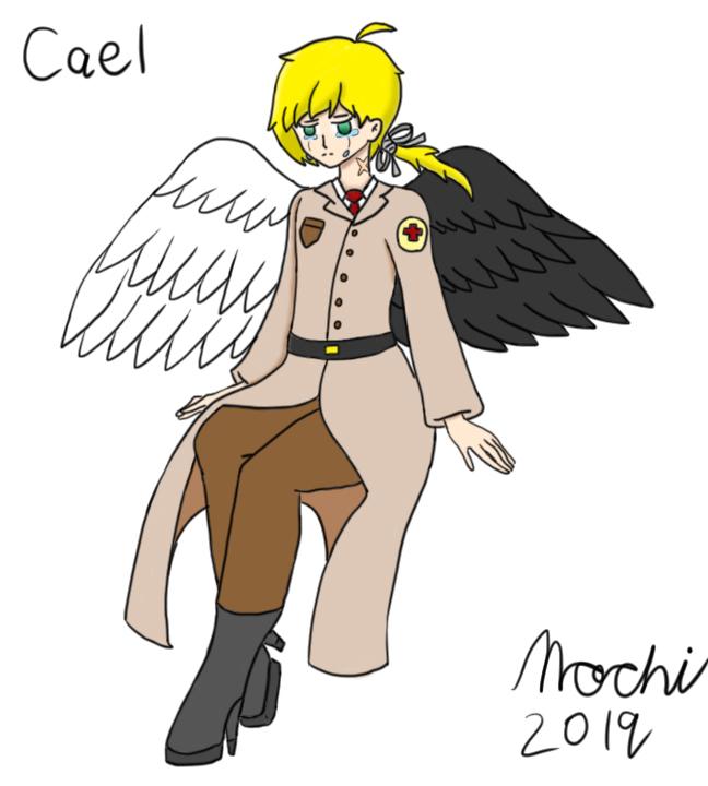 Cael the red medic angel by BlazetheAngelQueen