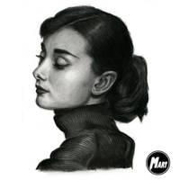 Charcoal portrait - Audrey Hepburn by M-art-works