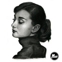 Charcoal portrait - Audrey Hepburn by M-art-works