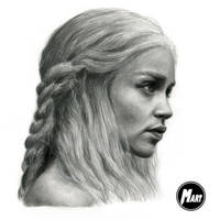 Charcoal portrait - Daenerys Targaryen by M-art-works