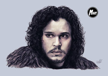 Charcoal and Digital portrait - Jon Snow by M-art-works