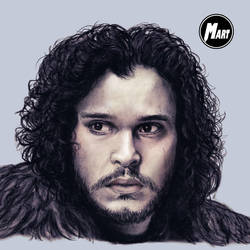 Charcoal and Digital portrait - Jon Snow -Close up by M-art-works