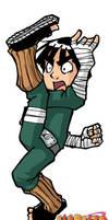 Naruto: Rock Lee flying kick by Uky0