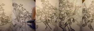 WIP: Hellboy + Wolverine inks by Uky0