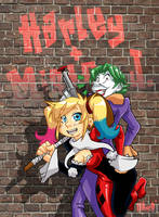 Harley Quinn and Mister J. by Uky0