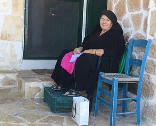 Greek widow sewing by ancoben