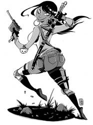 Hot Chick with Weapons by ToxicToothpick