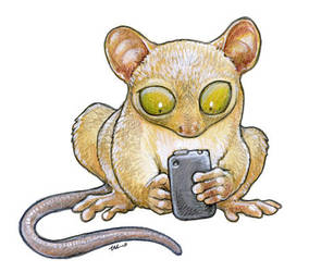 Texting Tarsier by ursulav