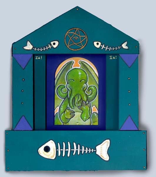 Happy Cthulhu Shrine by ursulav