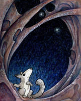 Wolf and Fireflies by ursulav