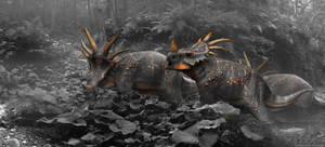 Styracosaurus B n' W by damir-g-martin