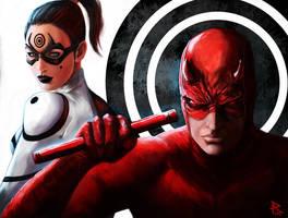 Daredevil and Lady Bullseye by PierluigiAbbondanza