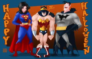 Wonder Woman, Batman and Superman Halloween by DevonneAmos