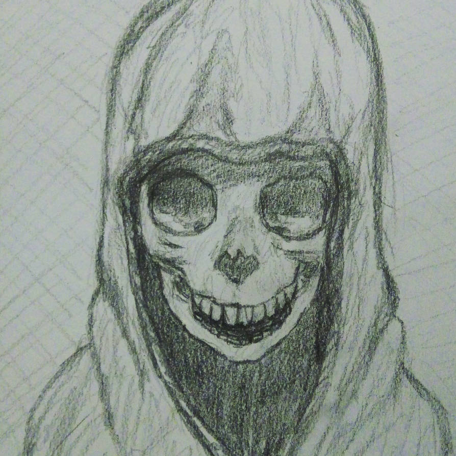 Laughing hooded skeleton by Wyverntales