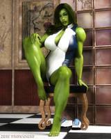 She-Hulk Sitting 2016 by artguyjoe
