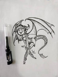 #Inktober Day 1 - Dragon girl by HiSamHere