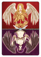 Morgana and Kayle - Playing Card by Val-eithel