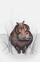 Sleepy Jungle Critter - Hippo by becsketch
