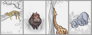 Sleepy Jungle Critters Colored by becsketch