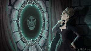 Once Upon A Time - Evil Queen at the Mirror by becsketch